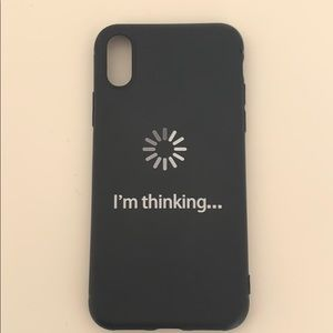 """""""I'm thinking""""black and white phone case"""